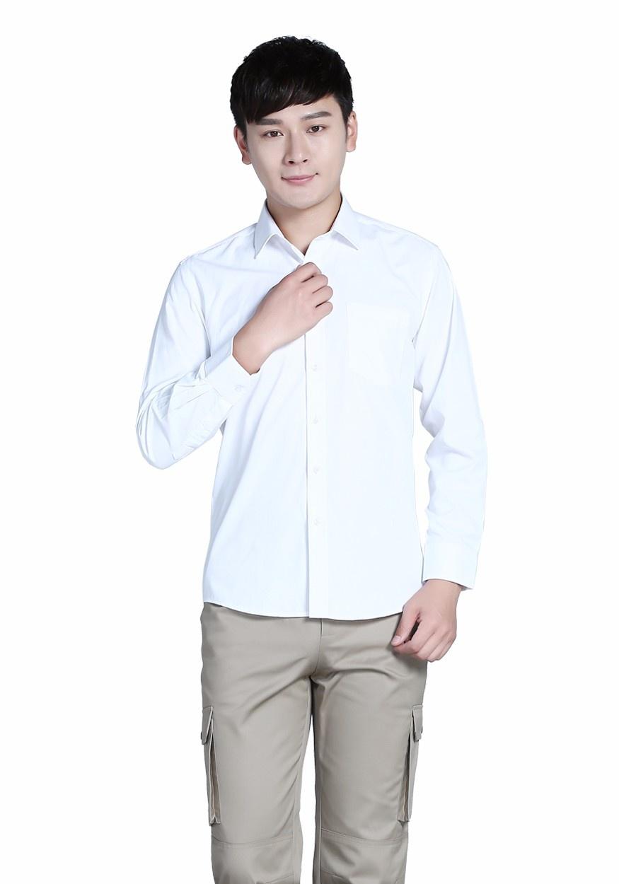 衬衫白色男全棉白色商务长袖衬衫