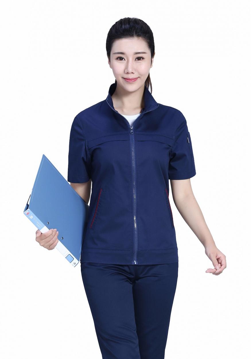 深蓝色夏季涤棉细斜短袖工作服FY638