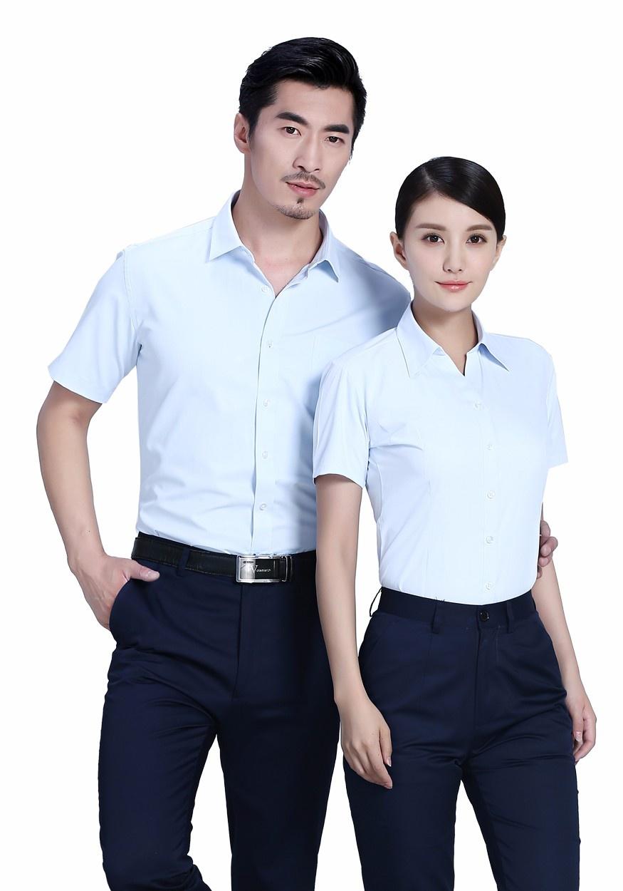 新款衬衫白色男蓝白商务短袖衬衫